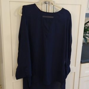 Express Navy Blue Blouse with Open Sleeve